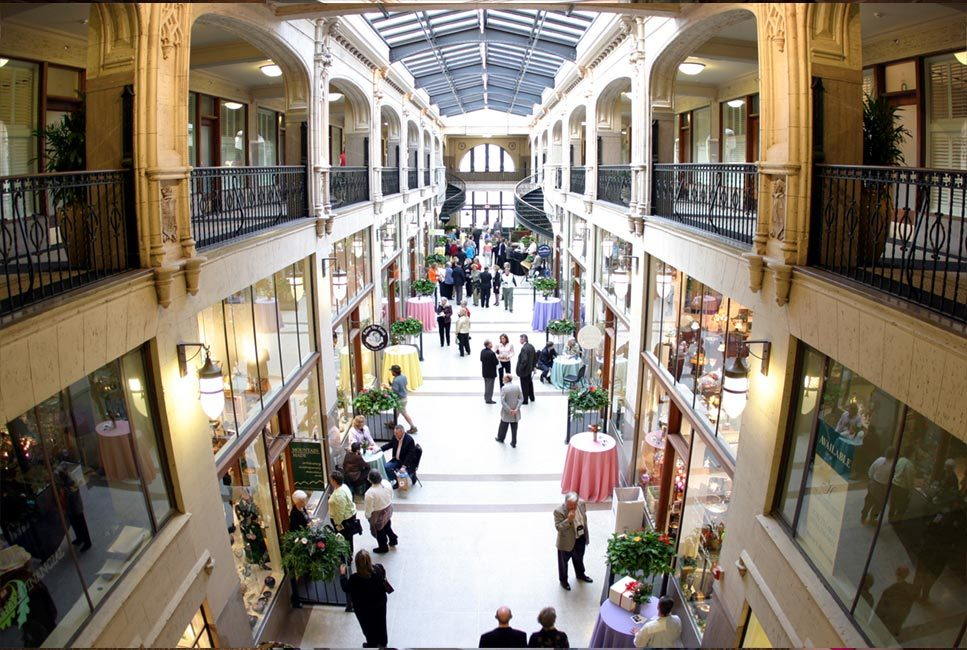 View inside historic Asheville Grove Arcade