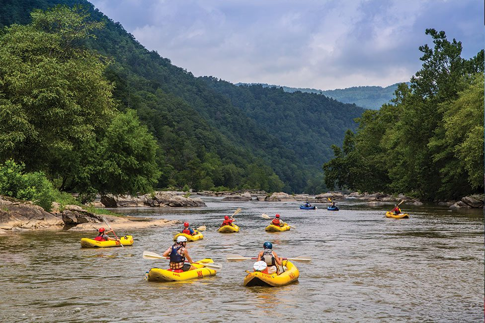 Corporate group rafting on French Broad River