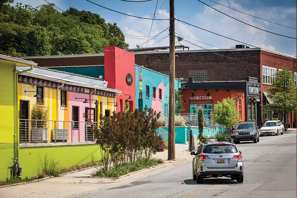 Asheville's colorful, eclectic River Arts district streets