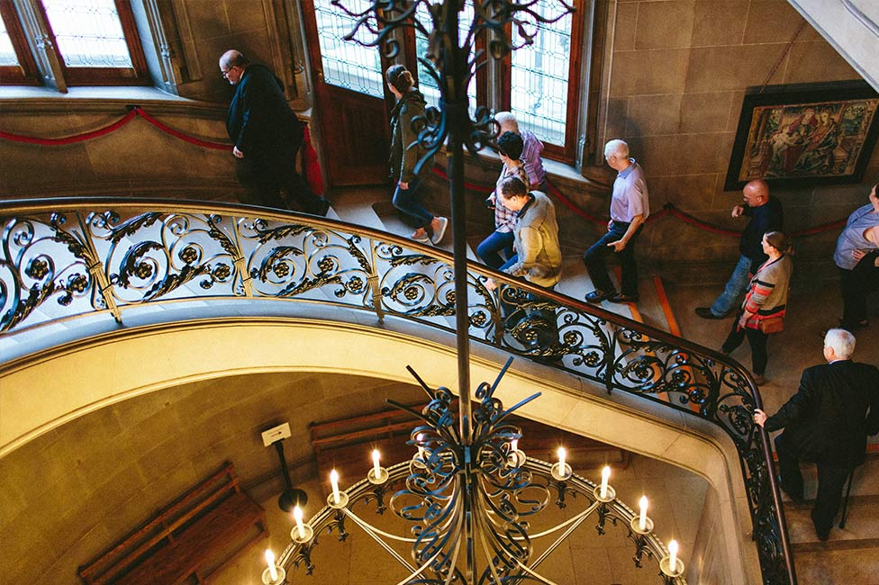 View of grand staircase inside Biltmore House