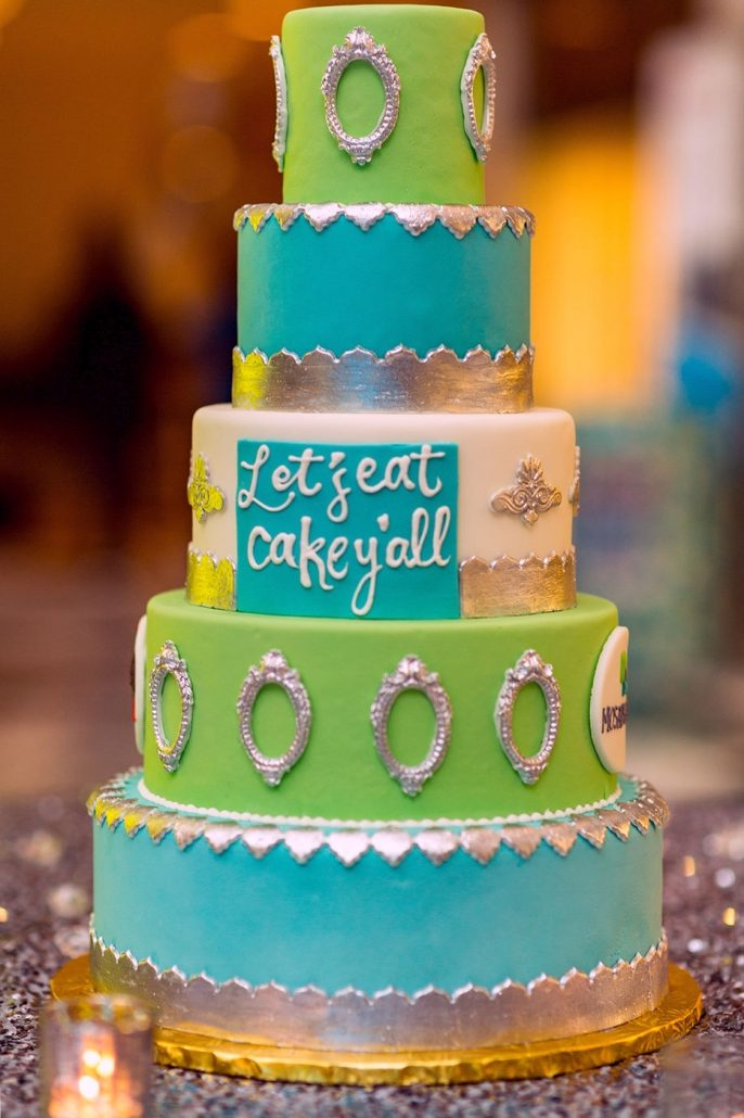 5-tier layer cake centerpiece in blue and green