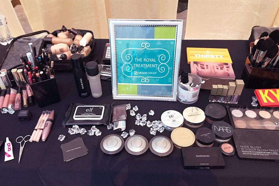 Royal Treatment Makeup Station at Corporate Event
