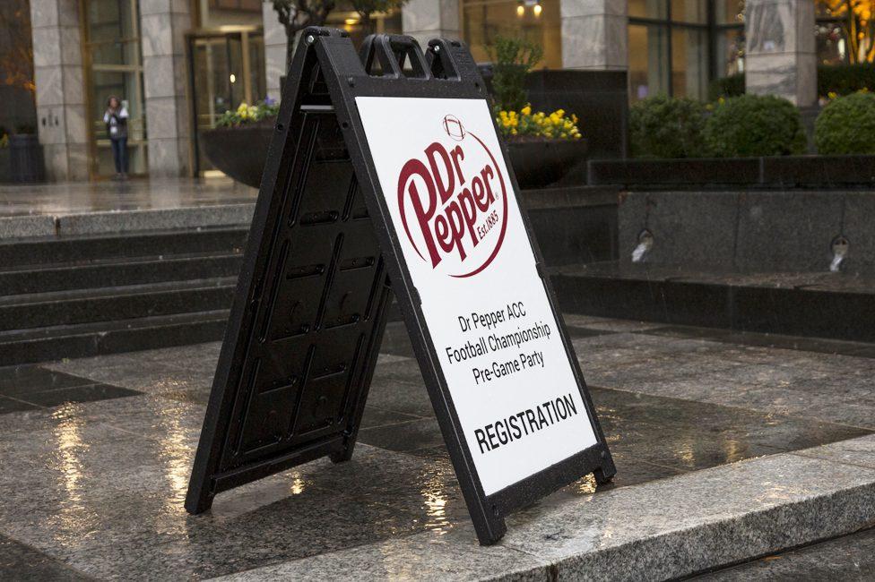 Dr. Pepper event registration sign