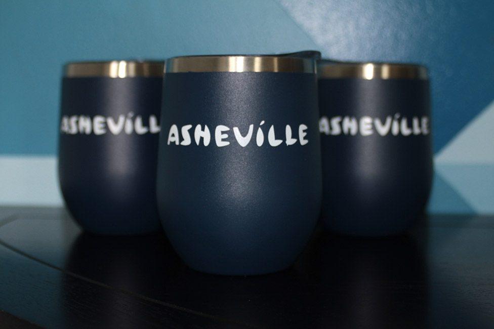 Navy Blue Asheville Logo Promotional Tumblers