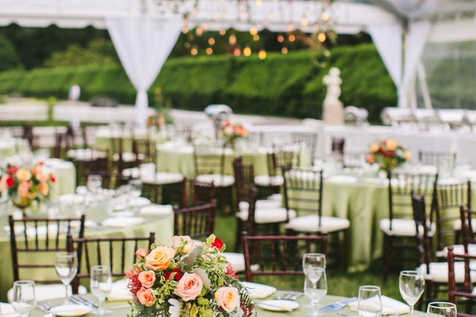 Formal Dinner under Garden Lights with Fresh Floral Decor at Biltmore Estate