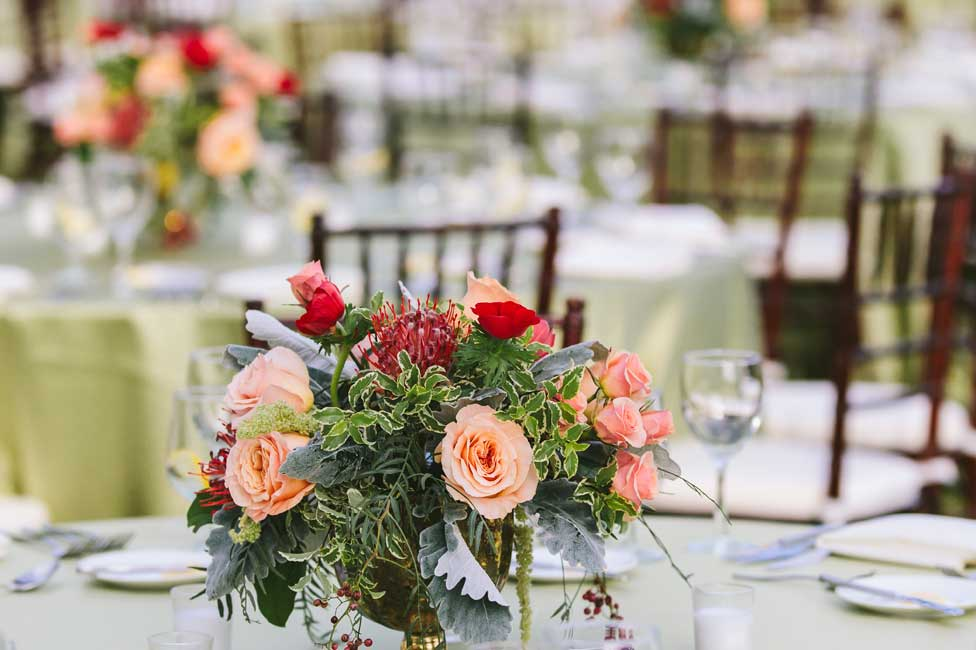 Formal Table Settings under Garden Lights with Fresh Floral Decor at Biltmore Estate