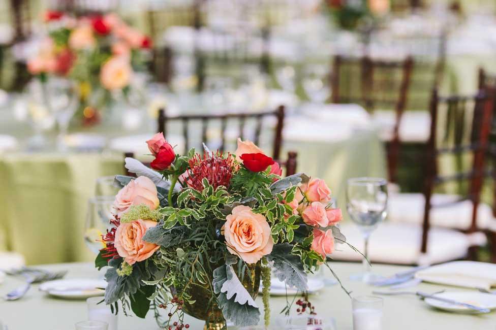 Formal Table Settings under Garden Lights with Fresh Floral Decor at Biltmore Estate