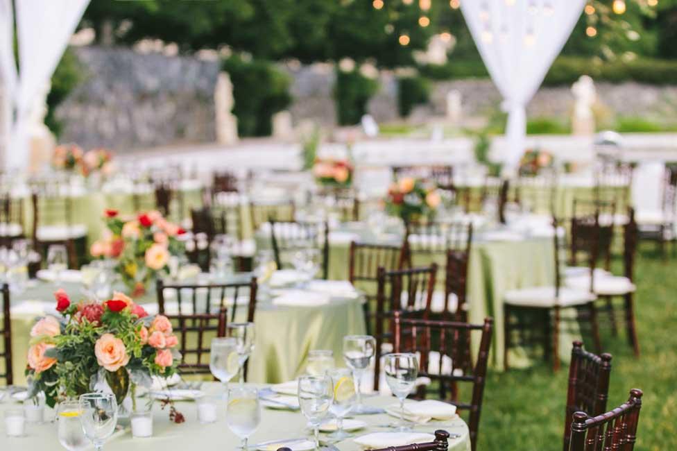 Formal Dinner under Garden Lights with Fresh Floral Decor at Biltmore Estate