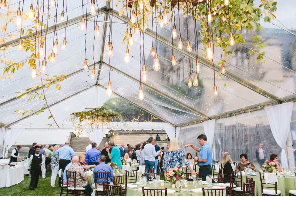 Formal Dinner under Garden Lights and Clear Tent at Biltmore Estate